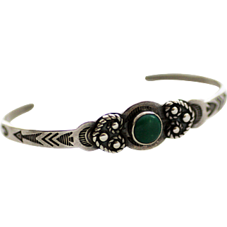 Navajo Child's Bracelet, Stamped with Turquoise, Signed