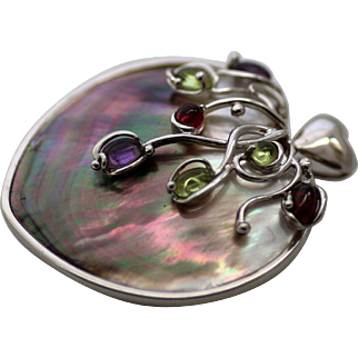 Colorful Abalone Pendant with Colorful Cascading Stones