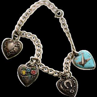 Sterling Silver Puffy Heart Enameled Charm Bracelet