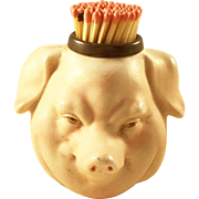 Late Victorian Figural Match Holder with strike - Bisque Pig
