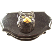 Ebony Dresser Box with Carved Cat Head - Glass Eyes - late Victorian