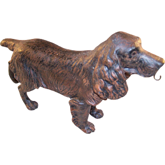 Fabulous Vintage Cold Painted Figural Watch Stand - Spaniel Dog