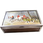 Handsome Vintage Silverplate Cigar or Cigarette Box - English, Fox Hunt Scene.