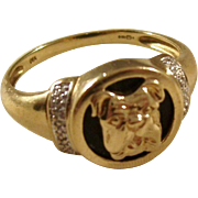 Fantastic Vintage Gentleman's Ring - Bulldog - 9 carat gold