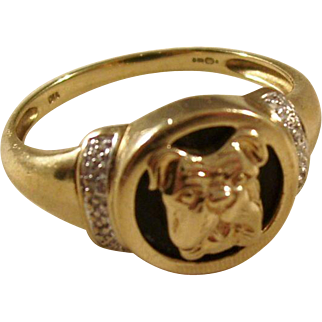 Fantastic Vintage Gentleman's Ring - Bulldog - 9 carat gold