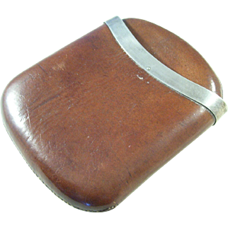 Leather Cigar Case with Silver Plate Band