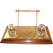 Handsome Vintage Double Brass Inkstand with Multiple Pen Rests - Masonic