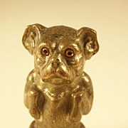 Incredible Figural Victorian Tape Measure – Dog with Glass Eyes