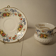 Tea Cup and Saucer - Queens Fine Bone China - Rosina