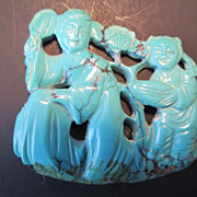 An antique Chinese turquoise plaque