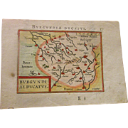 MAP OF BURGUNDY FRANCE BY ABRAHAM ORTELIUS, 1588
