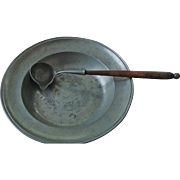 PEWTER BOWL AND LADLE WITH WOOD HANDLE