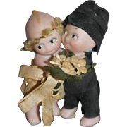 "All Bisque German Kewpie Wedding Couple - 2 1/2"" tall - Glass dome"