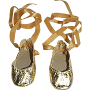 1950's Gold Slippers / Ribbon Ties