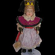 Vintage Hand Carved Wooden German Doll by Sophie Schmid, Female