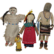 Three Leather American Indian Dolls plus