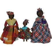 A Family of Tropical Island Cloth Dolls