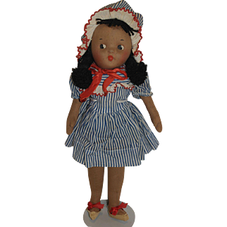 1940's Mask Face Cloth Black Doll