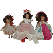 Three 1940's Bisque Nancy Ann Story Book Dolls