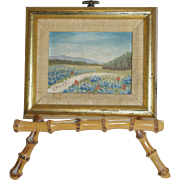 Miniature Painting of a Field of Flowers on Bamboo Tripod - Artist Signed Choat