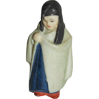 """Tiny German Bisque Cloaked Figure - 2"""" tall"""