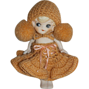 """5 1/2"""" Japan All Bisque Doll - Tagged Knit Outfit"""