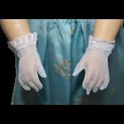 Vintage Light Blue Nylon Gloves - fit Cissy, Revlon