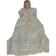 "5""  Bye Lo All Bisque Baby in Beautiful  Christening Gown - marked 20-12"