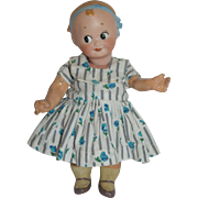 Goebel Googly - Molded Hair And Blue Bow
