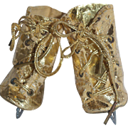 1940-50's Large Gold Ice Skates for Composition Doll