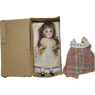 "German 4 1/2"" All Bisque Doll in orig. Box"