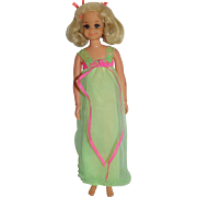 1971 Mattel Living Fluff Doll in Lullaby Lime Night Gown - Red Tag Sale Item