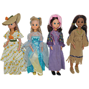1970's Mattel Star Spangled Dolls - Pioneer, Colonial, Indian, Southern Belle