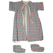 1950's Plaid Flannel Robe & Booties for your DyDee, Tiny Tears, etc