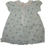 Blue Floral Print Dress with Ruffles for Dy-Dee, Tiny Tears, etc