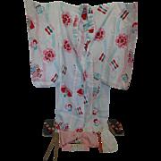 Vintage Girls Kimono, Obi, Tabi, and Geta