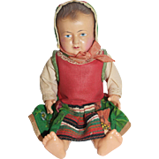 "8"" French Celluloid Toddler in Regional dress - all orig."