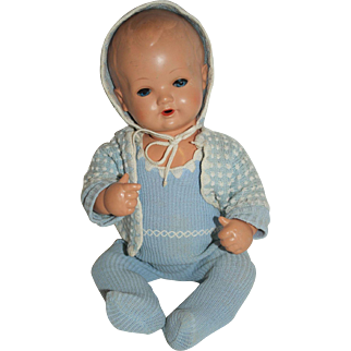 "13"" German Boy Doll in Blue Knit Outfit"