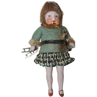 All Bisque German Ice Skater - Dollhouse Doll