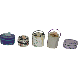 Five Miniature Hat Boxes for your Dollhouse, Room Box, etc - two artist signed