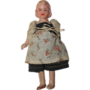All Bisque German Doll House Doll - Molded hair & regional dress