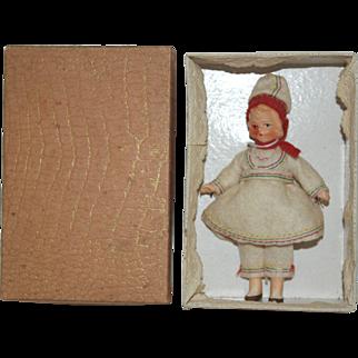 German Regional Bisque Doll House Doll - MIB