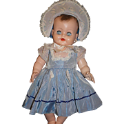 1950's Blue Nylon Dress and Bonnet - large baby doll