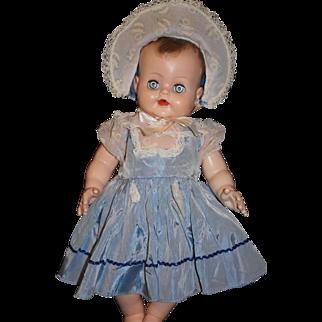 1950's Blue Nylon Dress and Bonnet - large baby doll