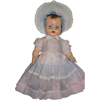 1940-50's Sheer Pink Dress with Smocked Embroidery / Matching Bonnet - for large Baby Doll