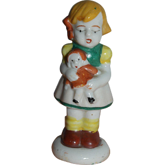 Bisque Girl  with Doll Figurine - Occupied Japan