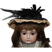 Vintage Black Velvet and Feather Doll Hat