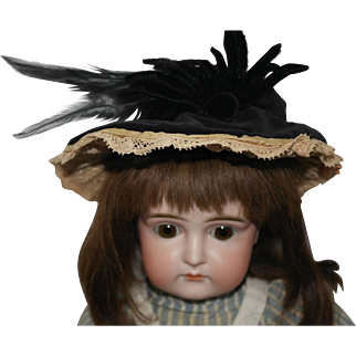 Vintage Black Velvet and Feather Doll Hat