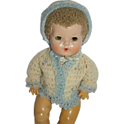 "White and Blue Sweater/pink roses and Bonnet - for 11"" Dy-Dee, Tiny Tears, etc"