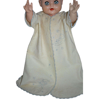 1940's Embroidered Flannel Robe for Large Baby Doll